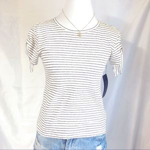 OLIVACEOUS STRIPES TEE WITH SLEEVE DETAIL SMALL